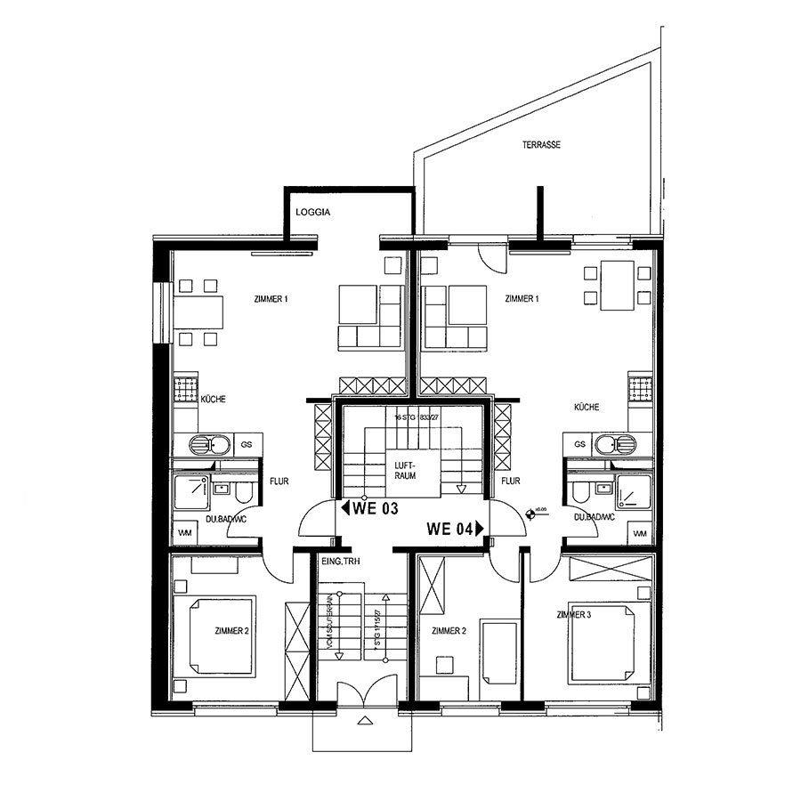 Grundriss 2-Raum und 3-Raum