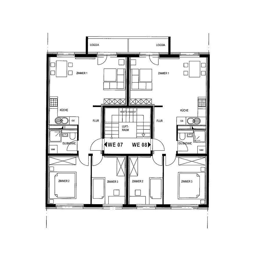 Grundriss 2-Raum und 3-Raum mit Loggia