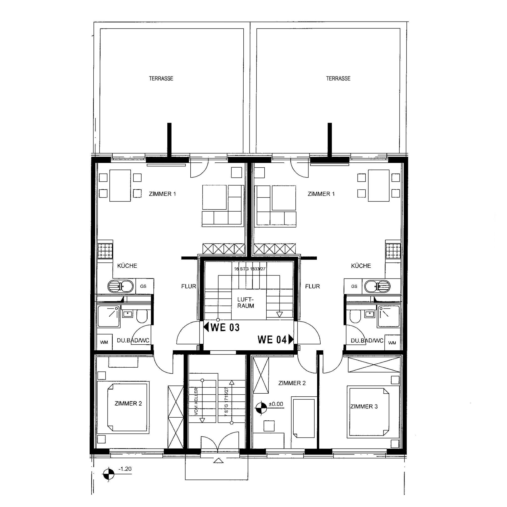 Grundriss 2-Raum und 3-Raum mit Terrasse