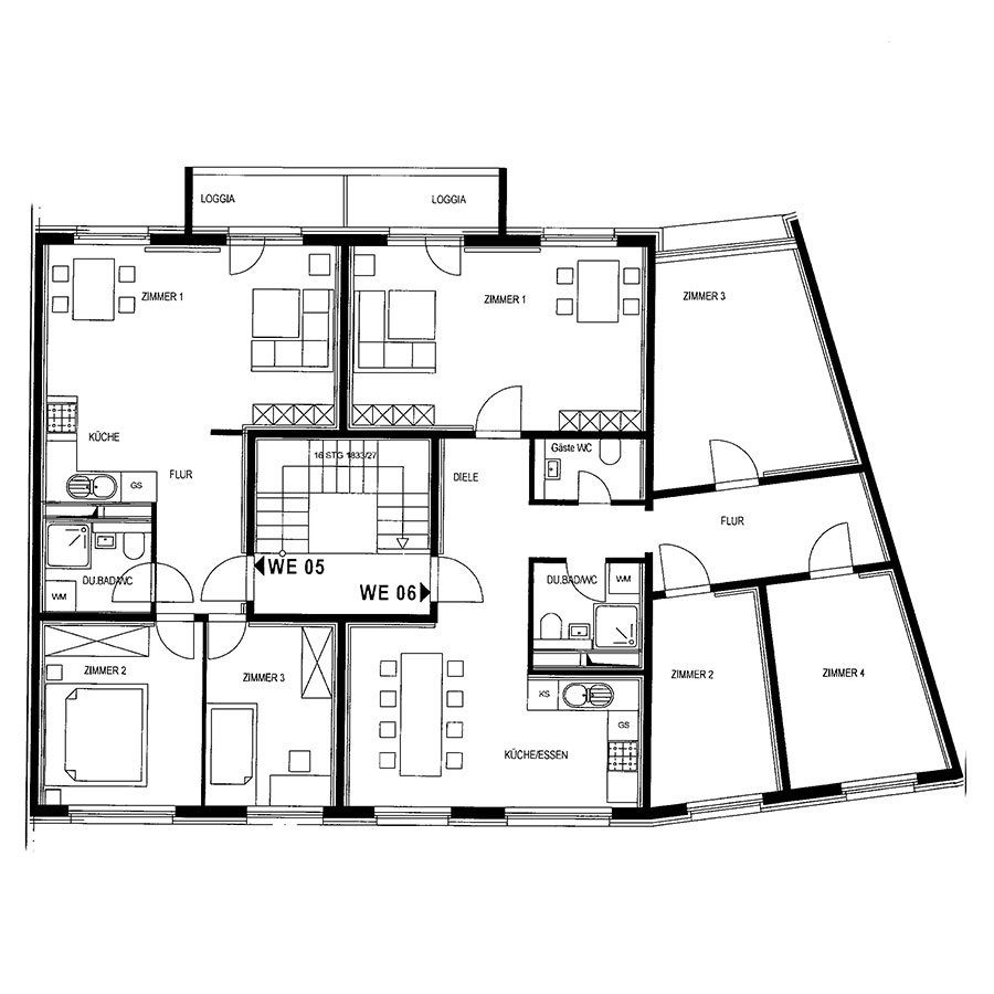 Grundriss 5-Raum und 3-Raum